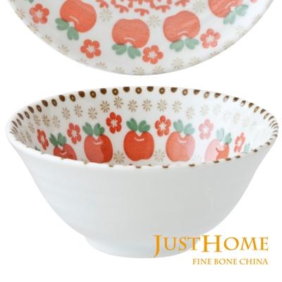 Just Home 日本製紅蘋果陶瓷5吋大飯碗(5件組)