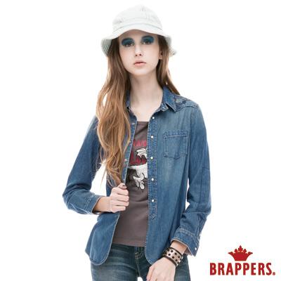 BRAPPERS 女款 女用補釘長袖牛仔襯衫-淺藍