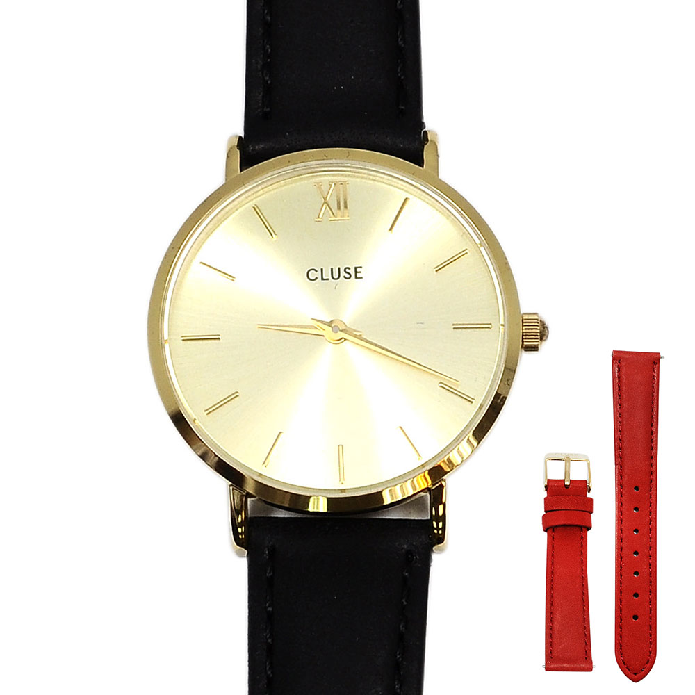 CLUSE荷蘭精品手錶 波西米亞金色系列 金色錶盤黑色/紅色皮革錶帶禮盒組33mm