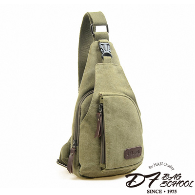DF BAGSCHOOL - 日式吉田風帆布款休閒單肩斜背包-卡其綠