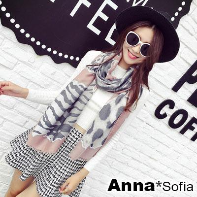 AnnaSofia-謎染豹紋毛邊-柔軟混棉披肩圍巾-粉灰系