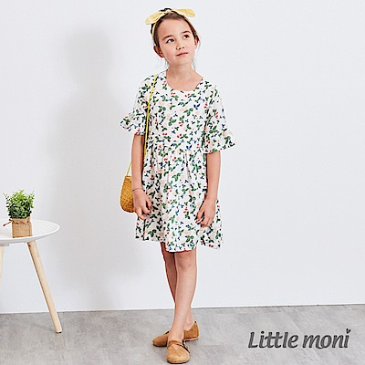 Little moni 碎花荷葉袖洋裝 (2色可選)