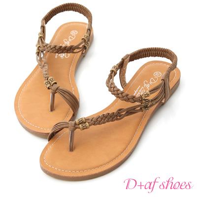 D+AF 峇里渡假.民族風斜編織平底涼鞋*棕