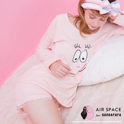 AIR-SPACE-泡泡先生大臉印花兩件式居家睡衣-粉