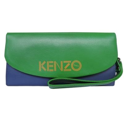 KENZO 雙色皮革翻蓋長夾(藍綠)(附手掛帶)