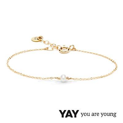 YAY You Are Young 法國品牌 Stella 珍珠手鍊 單層款 金色