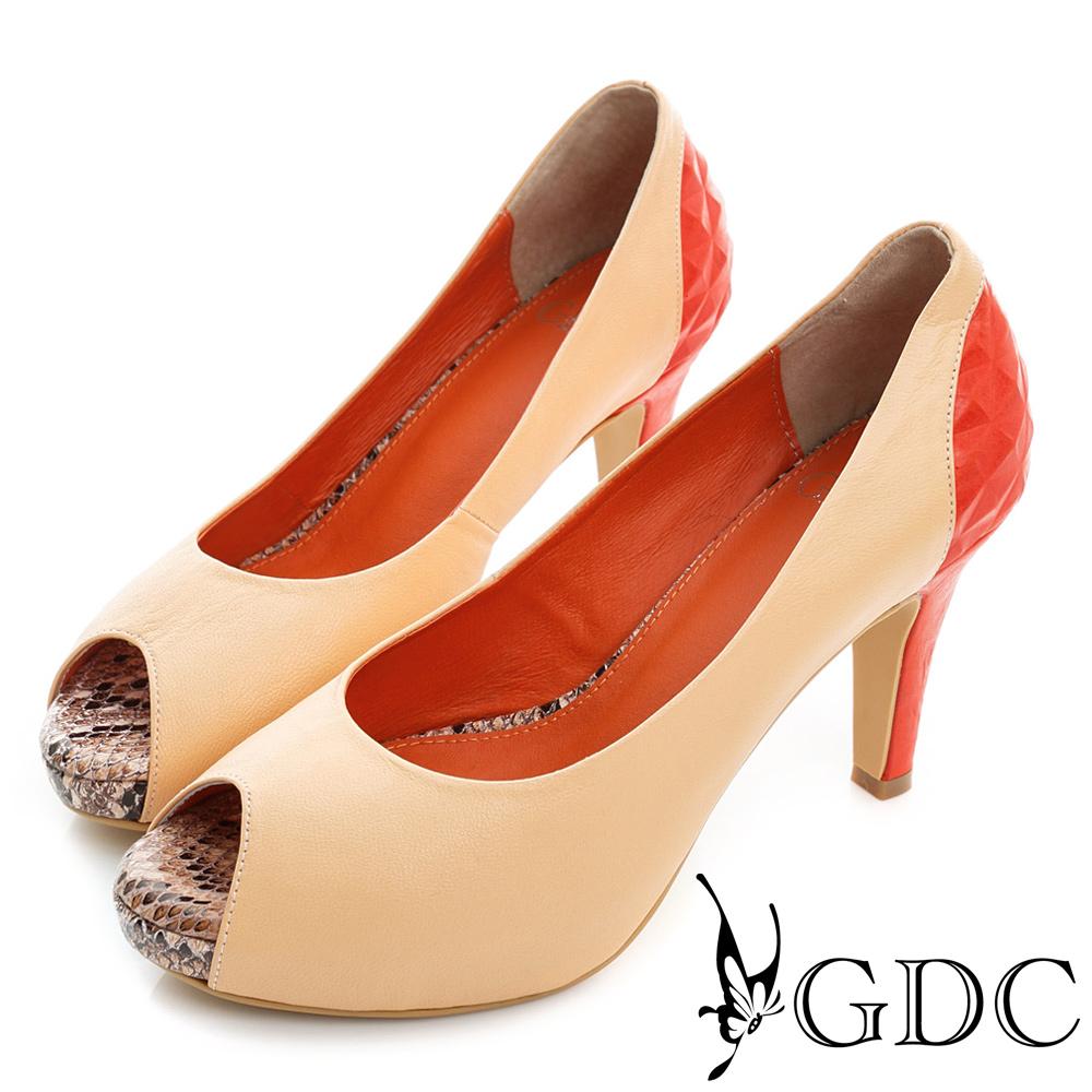 GDC-羊皮撞色拼接真皮魚口高跟鞋-粉色