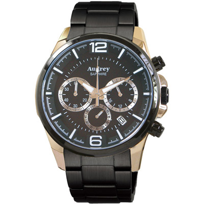 Audrey 歐德利 躍動時尚三眼計時腕錶(AUGM5635-A)-黑/42mm