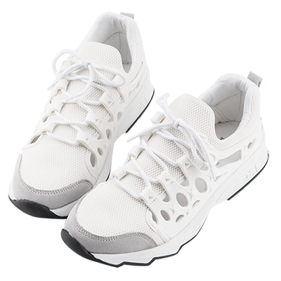 Robinlo & Co. 時尚異材質鏤空休閒運動鞋 白色