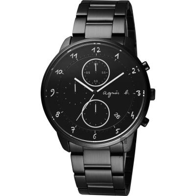 agnes b. 法國時尚三眼計時腕錶(BM3018J1)-黑/40mm