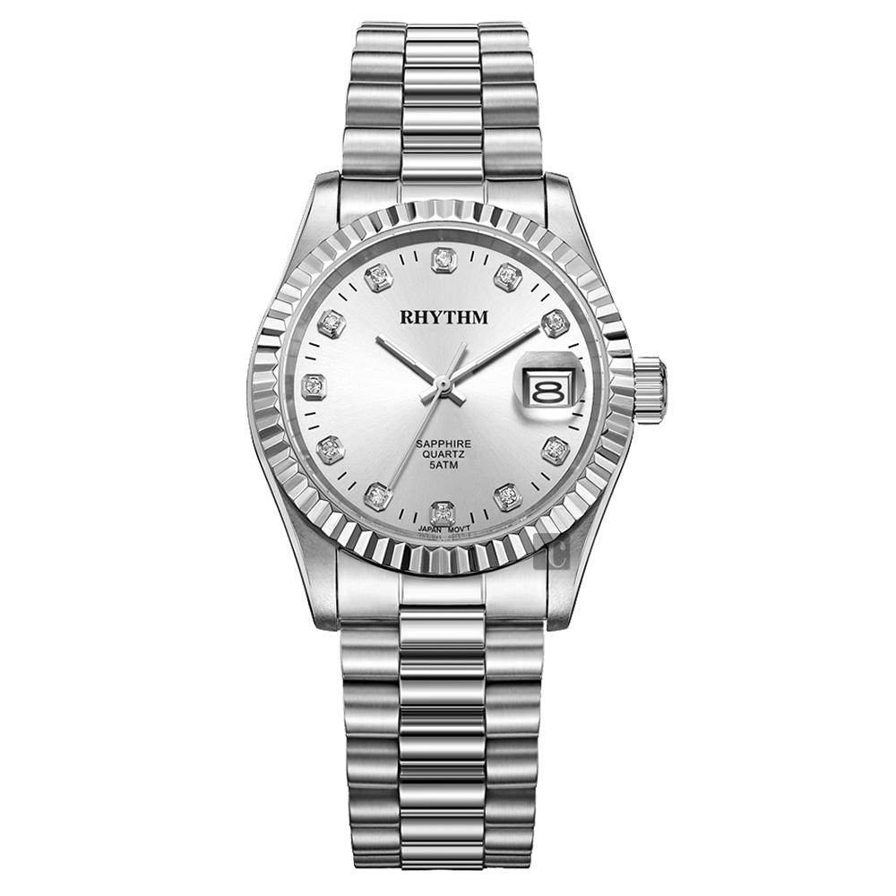 RHYTHM日本麗聲 尊爵晶鑽石英手錶-銀/38mm RQ1609S07