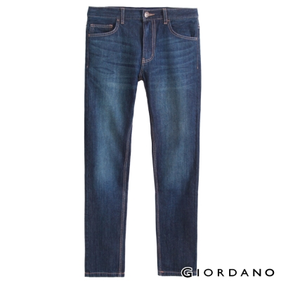 GIORDANO男裝低腰摩登窄管牛仔褲-57中藍