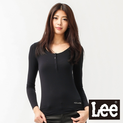 Lee-長袖半開襟T恤-女款-黑-LL11007008A