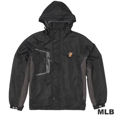 MLB-巴爾的摩金鶯隊可拆帽長版風衣外套-黑(男)