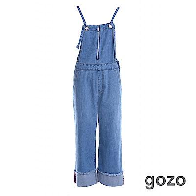 gozo飛行拉鍊反折寬管綁帶吊帶褲二色