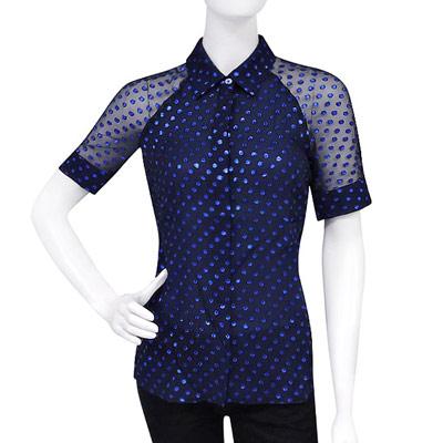 GUCCI 藍色圓點雪紡紗短袖上衣(38號)