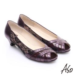 A.S.O. 優雅時尚 全真皮金箔側邊蕾絲中跟魚口鞋 紫