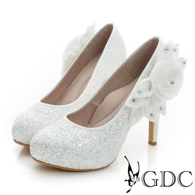 GDC幸福-立體花朵造型亮片真皮高跟鞋(婚鞋)-白色
