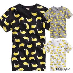小猴子的賣場 MIT純棉男女情侶款滿版香蕉塗鴉短袖T恤-3色