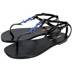 YSL Saint Laurent NU PIEDS 05 夾腳涼鞋(黑x藍)