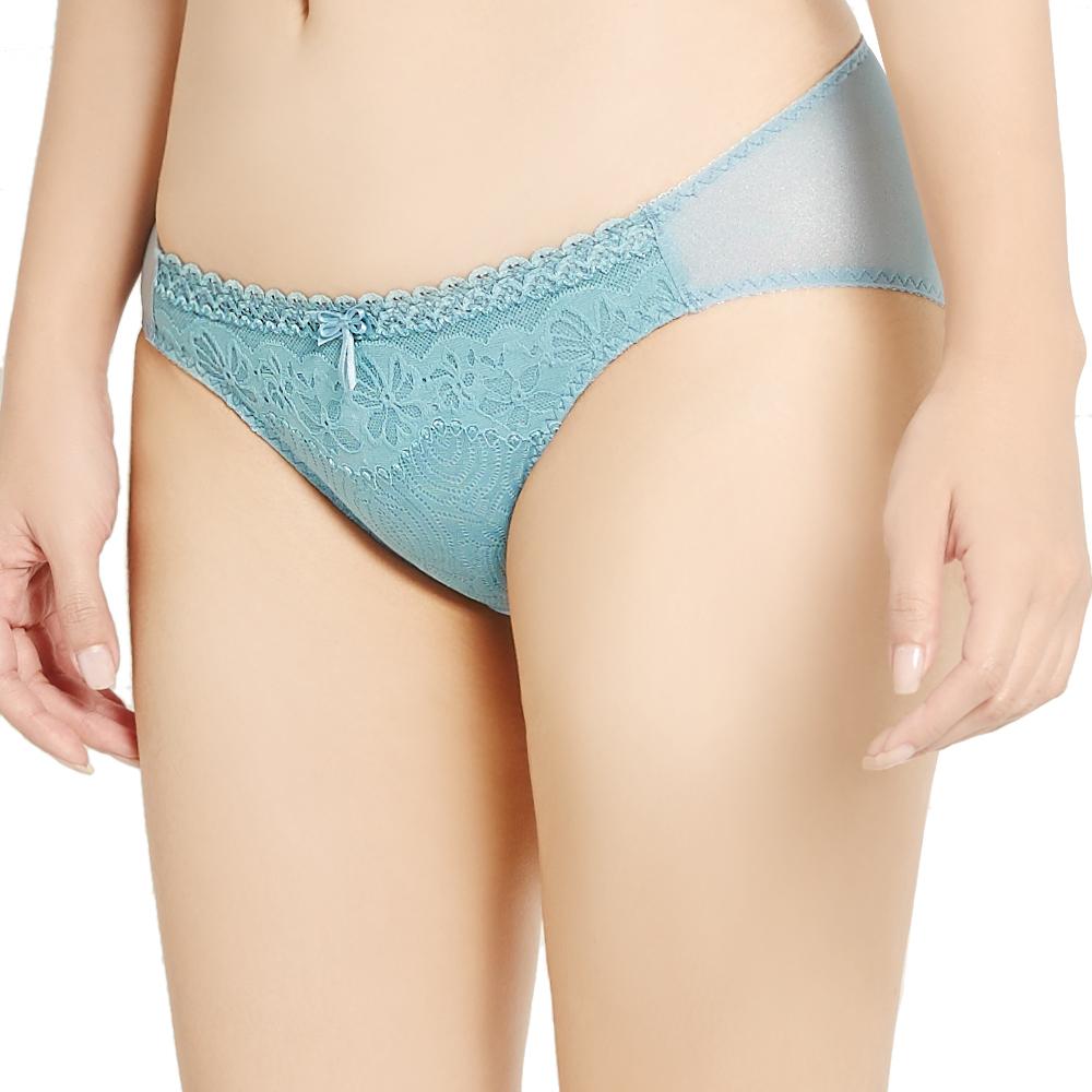 思薇爾 挺享塑系列M-XL蕾絲低腰三角褲(礁石綠)