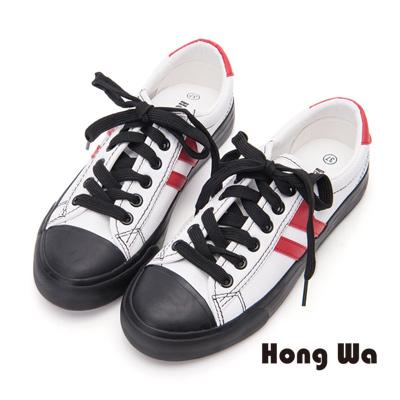 Hong Wa 隨興百搭牛皮綁帶休閒鞋- 紅白