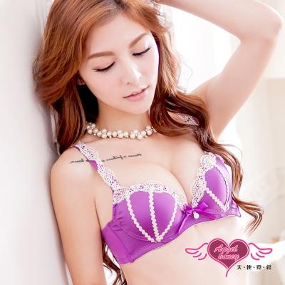 內衣 輕甜蕾絲集中成套內衣A-E罩杯(紫) AngelHoney天使霓裳