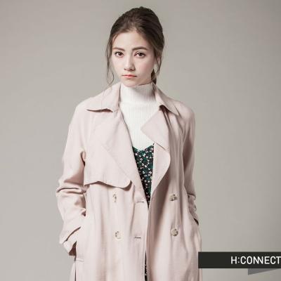 H-CONNECT-韓國品牌-女裝-純色素面翻領綁