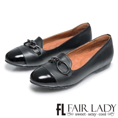Fair Lady 不對稱拼接鏈環圓頭樂福鞋 黑