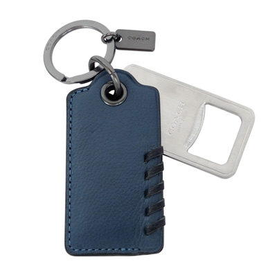 COACH單寧藍皮革編織吊牌內附開瓶器鑰匙圈