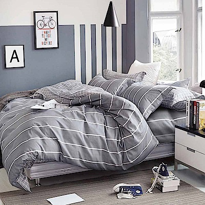 Ania Casa 時尚風 單人兩件式 100%精梳棉 台灣製 床包枕套純棉兩件組