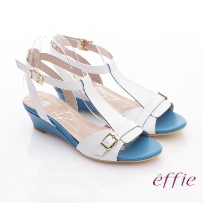 effie 軟芯系列 真皮軟墊T字楔型涼鞋 白