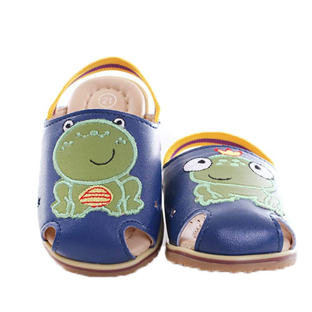 不對稱青蛙 鬆緊帶手工寶寶涼鞋 藍 sk0071 魔法Baby