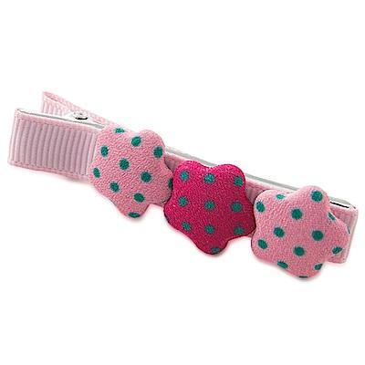 BEBEZOO 粉紅底綠點點星星髮夾