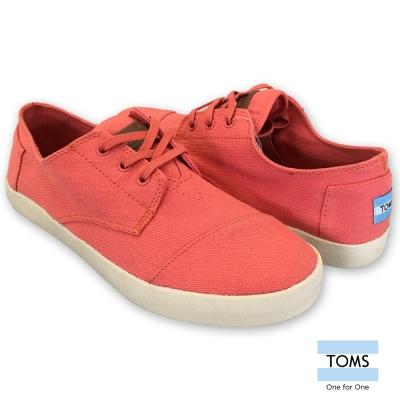 TOMS 簡約素面帆布休閒鞋-男款(橘紅)