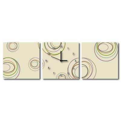 24 mama掛畫 - 三聯式流行家飾無框藝術掛畫時鐘-彩色炫渦- 40 x 40 cm