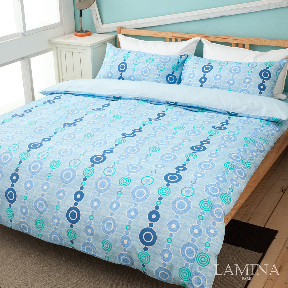 LAMINA  《浪漫天地-藍》單人三件式床包被套組
