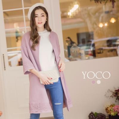 東京著衣-yoco 法式女孩優雅質感蕾絲毛呢大衣-S.M.L(共二色)