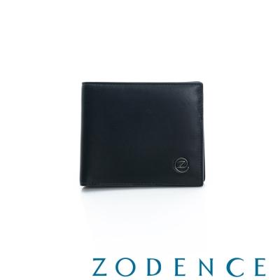 ZODENCE-MAN-義大利羊皮系列兩折零錢層短夾-黑