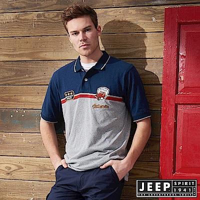 JEEP 創意滾邊撞色短袖POLO衫-藍色