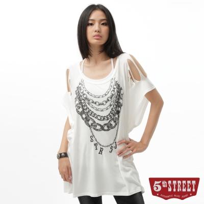 5th STREET T恤 項鍊繡花印圖長版T恤-女-白色