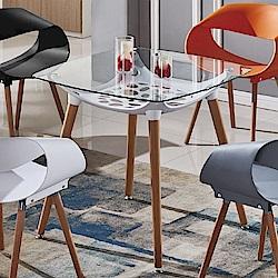 AT HOME-亞琪2.7尺白色方形玻璃洽談桌休閒桌餐桌(80*80*75cm)