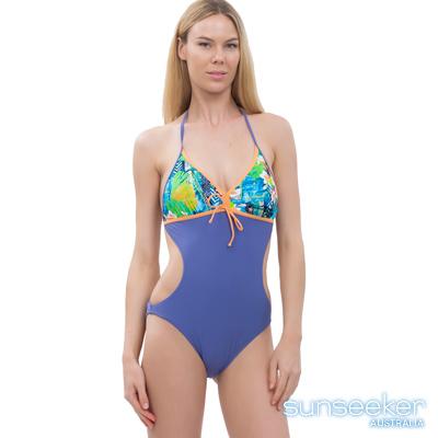 澳洲Sunseeker泳裝挖腰連身泳衣-紫色