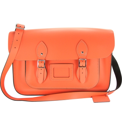 The Leather Satchel 英國手工牛皮劍橋包 肩背 側背包 珊瑚紅 14吋