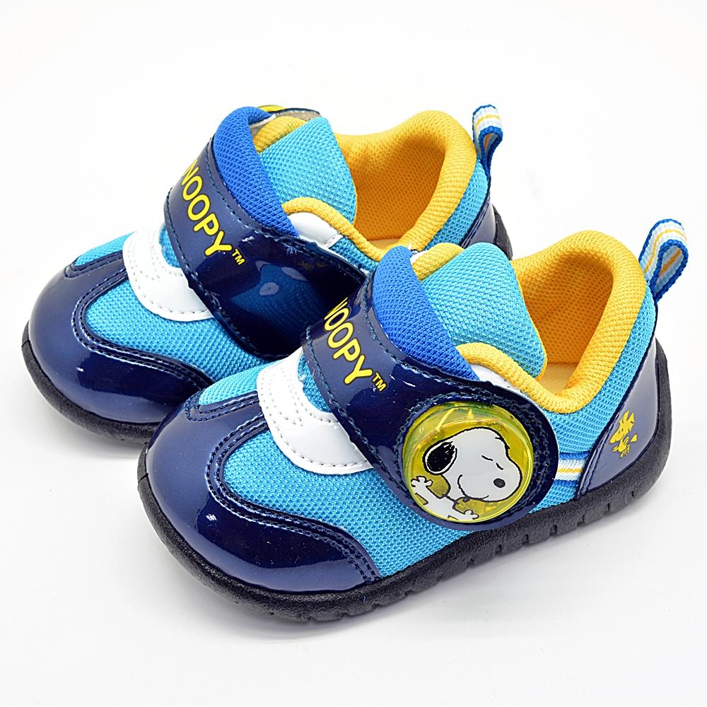 Snoopy史努比 輕量透氣網布防臭鞋墊電燈休閒鞋-藍 (13.0-18.0)