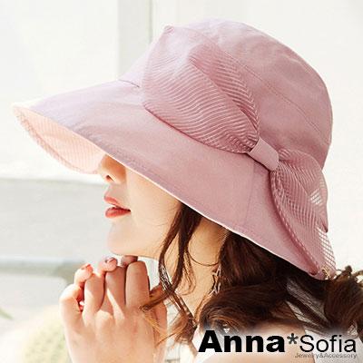 AnnaSofia 柔美透感斜絲紋結 遮陽防曬漁夫帽盆帽(甜粉系)