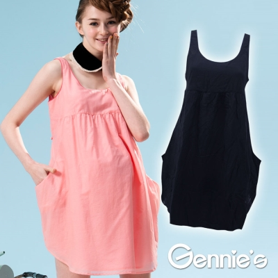 【Gennie's奇妮】簡單甜美時尚春夏孕婦背心洋裝(G1519)-黑