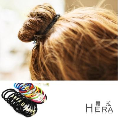 Hera 赫拉 純色高彈力帶扣髮圈/髮束-二十入組-10黑+10彩