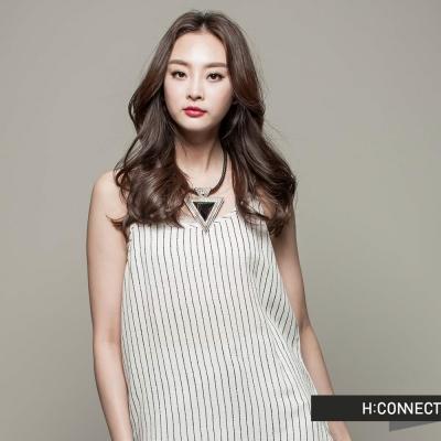H-CONNECT-韓國品牌-女裝-細肩開岔條紋洋裝-白-快