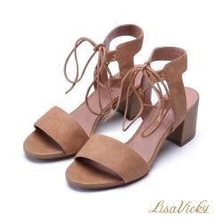 LisaVicky 浪漫一字羅馬交叉綁帶粗跟涼鞋-咖啡駝